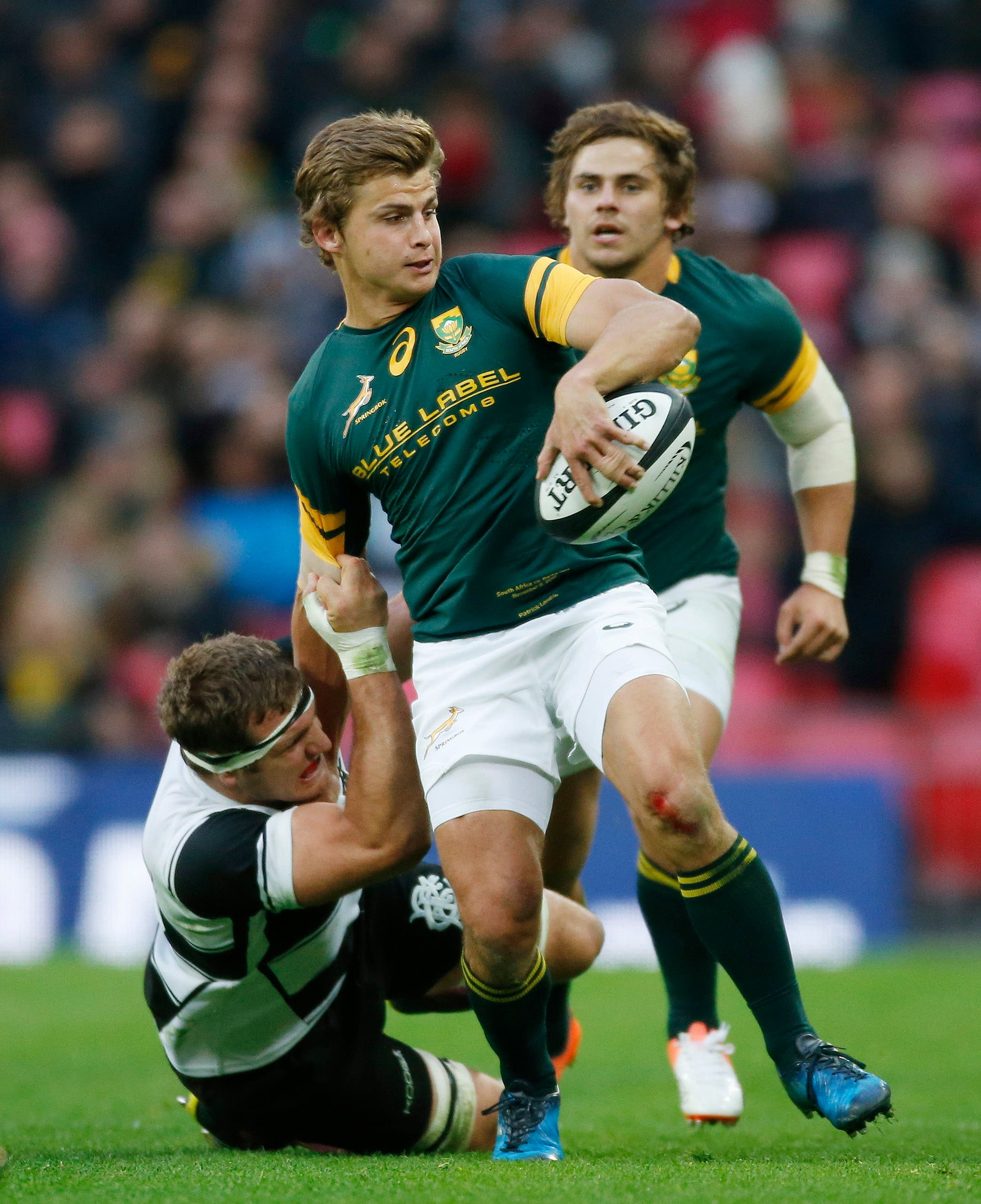 South Africa S Pat Lambie Is Tackled By Barbarians Luke