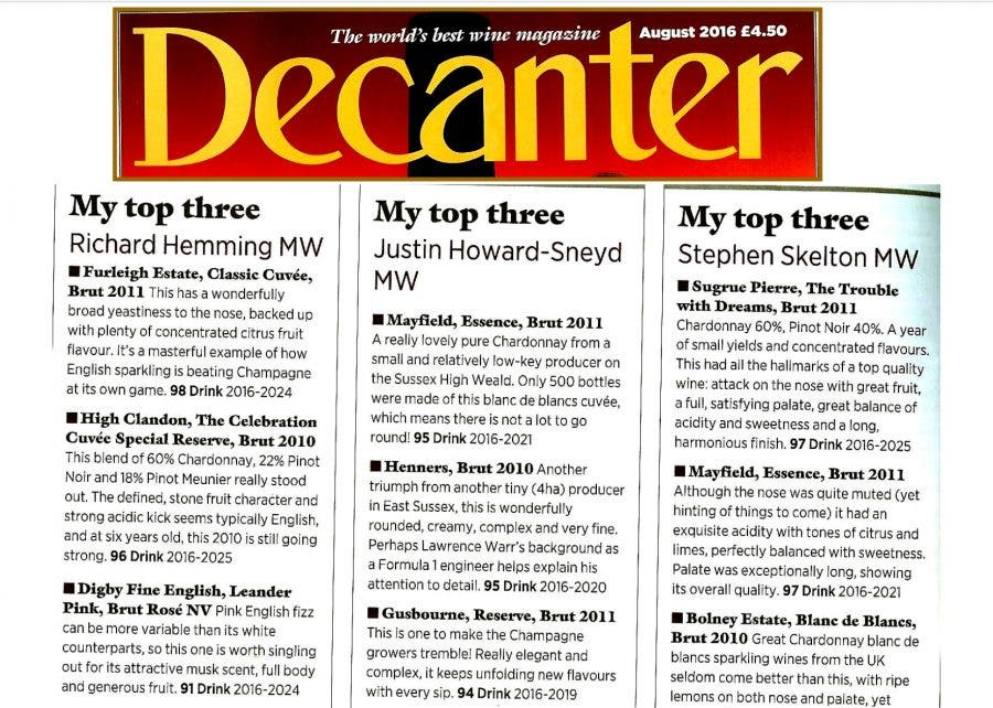 High Clandon Celebration Cuvée rated top in Decanter Magazine