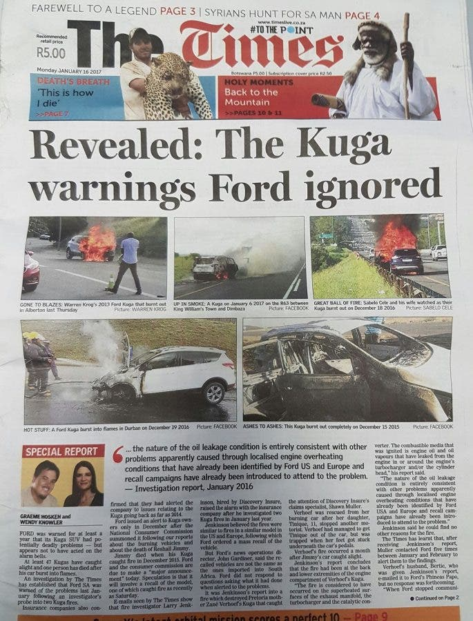 The Times cover with special Kuga report.