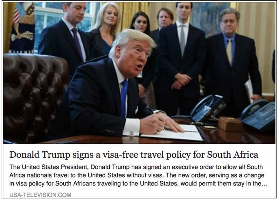 True News Usa >> Fake News Alert Trump Has Not Signed A Visa Free Policy For