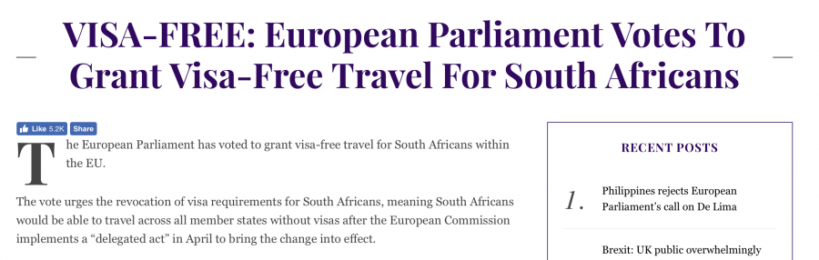 Visa Free Travel To The Eu For South Africans