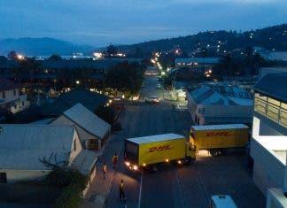 DHL trucks arrive to help at Knysna fire