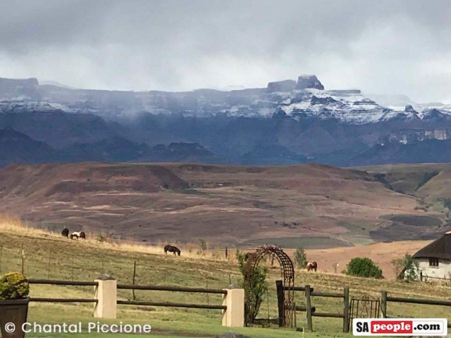 Snow on mountains in Drakensburg