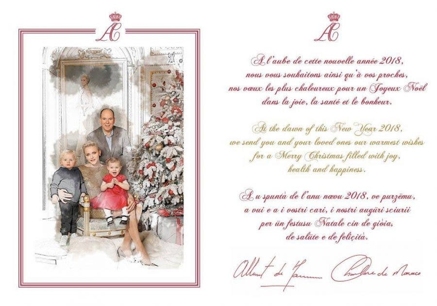 Christmas in Monaco with Princess Charlene and Royal Family with Twins on 2017's Xmas Card ...