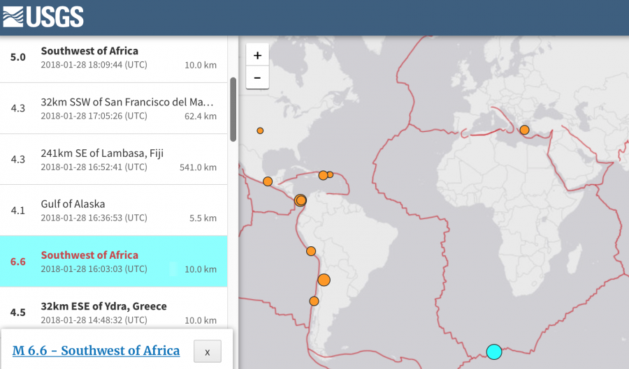 Screenshot from USGS - earthquake near South Africa