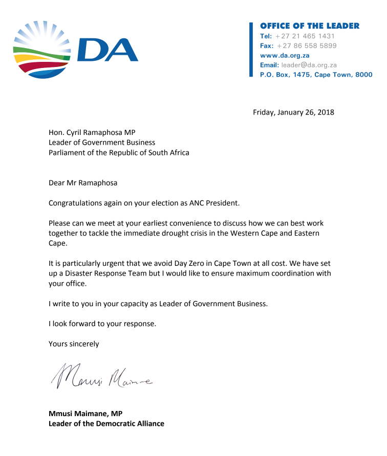 Das maimani wants urgent meeting with ancs ramaphosa to defeat day the letter which the das mmusi maimane has sent to cyril ramaphosa thecheapjerseys Images