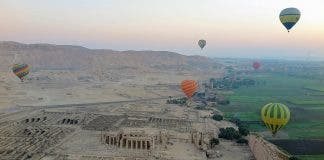 Hot air balloons near Luxor, in Egypt