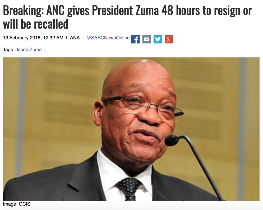 SABC says Zuma given 48 hours to resign