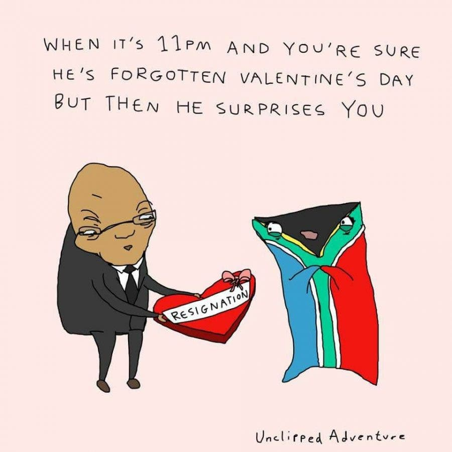 President Jacob Zuma Valentines Day joke resignation