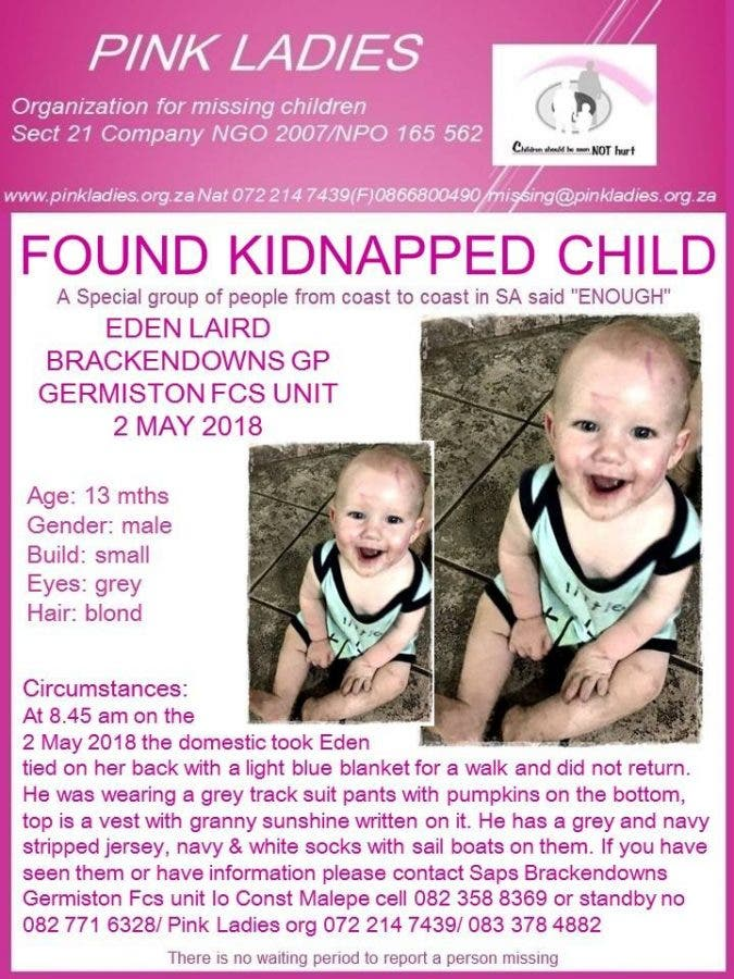 Kidnapped Child Eden Laird Found Unharmed in Gauteng, South