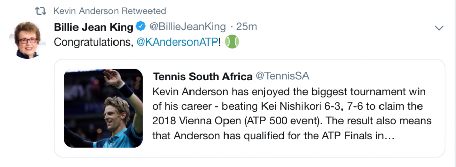 Billie Jean King tweets Kevin Anderson