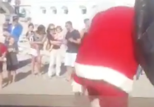 santa falling in south africa off boat