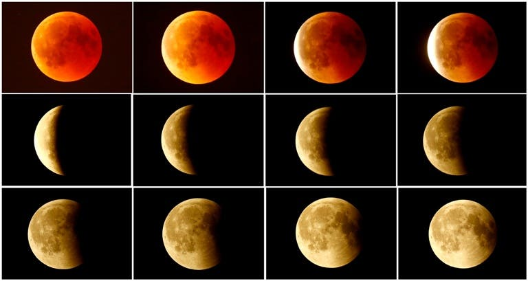 File Photo A Combination Shows The Lunar Eclipse From Blood Moon Top L Back To Full Bottom Right In Sky Over Frankfurt Germany