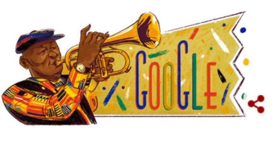 Hugh Masekela - Google doodle screenshot. Honouring Hugh Masekela's 80th birthday.