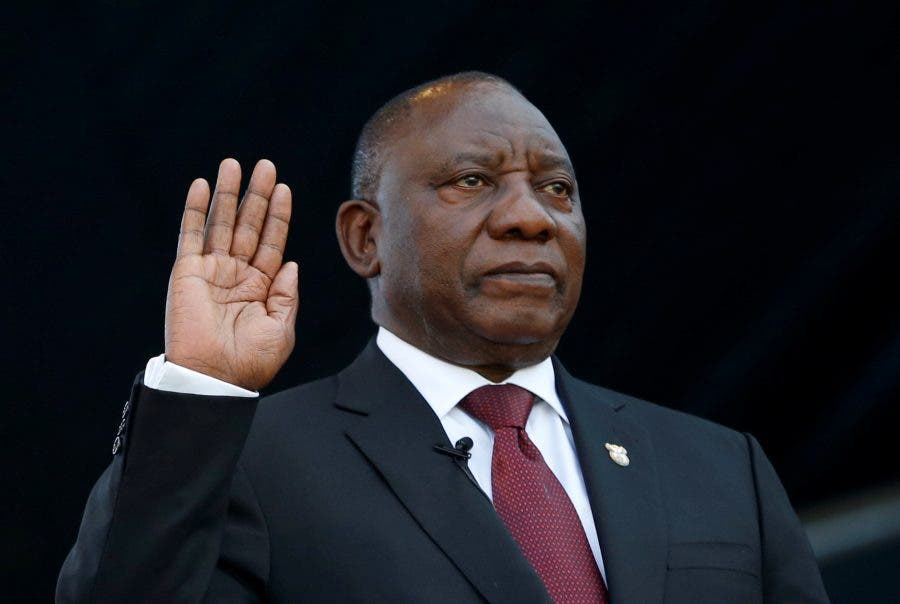 Cyril Ramaphosa takes the oath of office at his inauguation as South African president