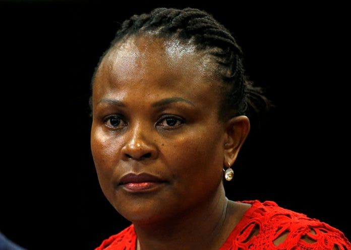 Public Protector Busisiwe Mkhwebane listens during a briefing at Parliament in Cape Town, South Africa October 19, 2016. REUTERS/Mike Hutchings/File Photo