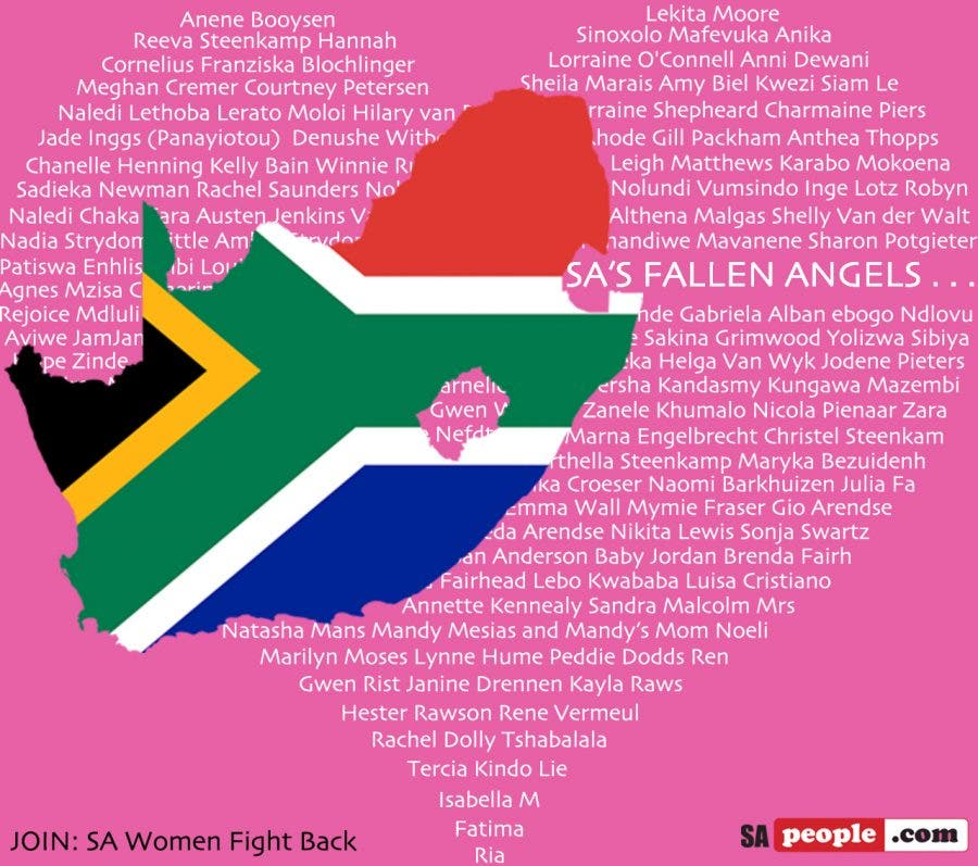South Africa's Fallen Angels: List Honouring Females