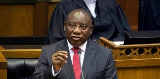 South African President Cyril Ramaphosa delivers his State of the Nation Address at parliament in Cape Town
