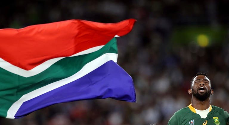 South Africa's Siya Kolisi during the national anthem before the match Rugby World Cup