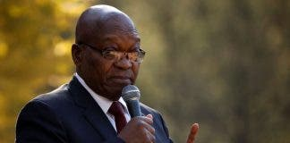 Former South African President Jacob Zuma addresses supporters in Johannesburg