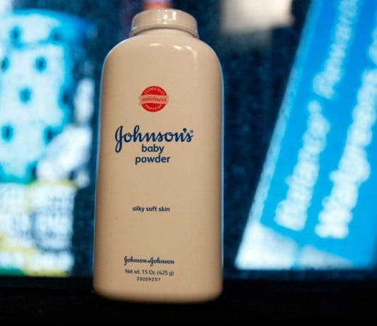A bottle of Johnson's Baby Powder is seen in a photo illustration taken in New York. Asbestos fears