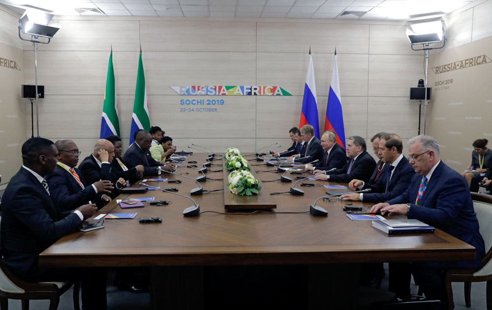 Russian President Vladimir Putin meets with South African President Cyril Ramaphosa in Sochi