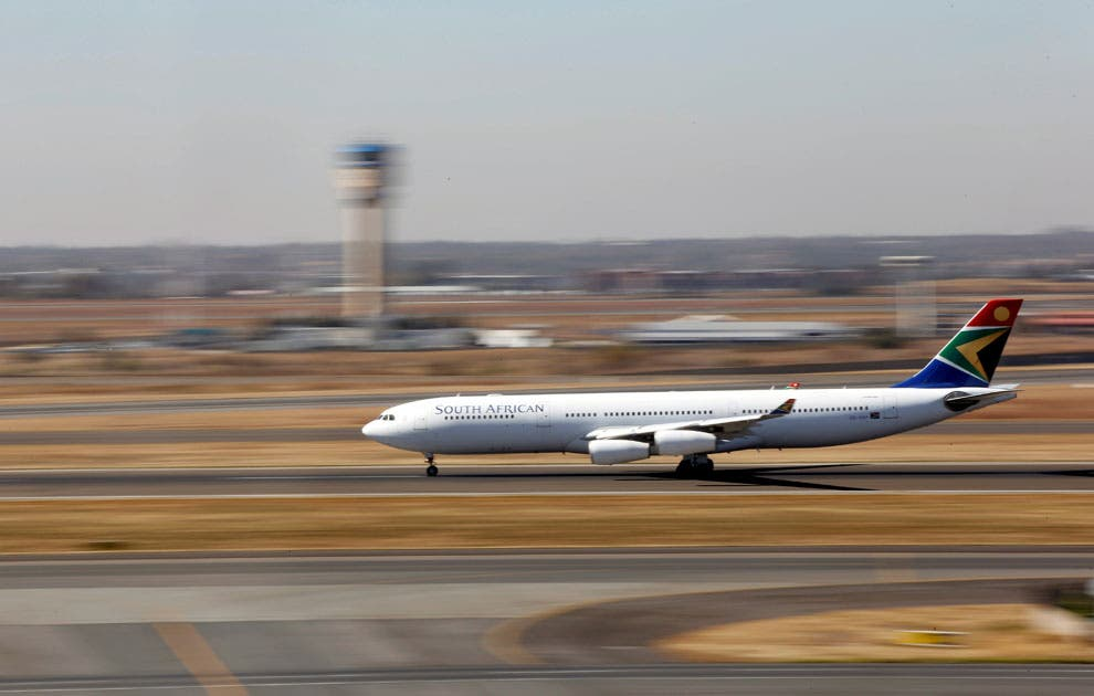 A South African Airways Airbus A340 plane prepares to take off at the O. R. Tambo International Airport in Kempton Park