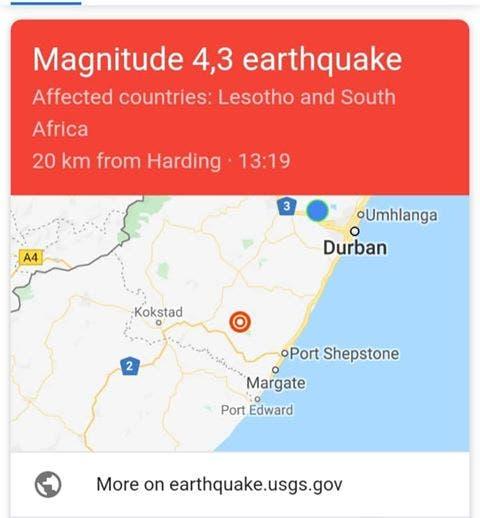 earthquake durban port shepstone kzn south africa