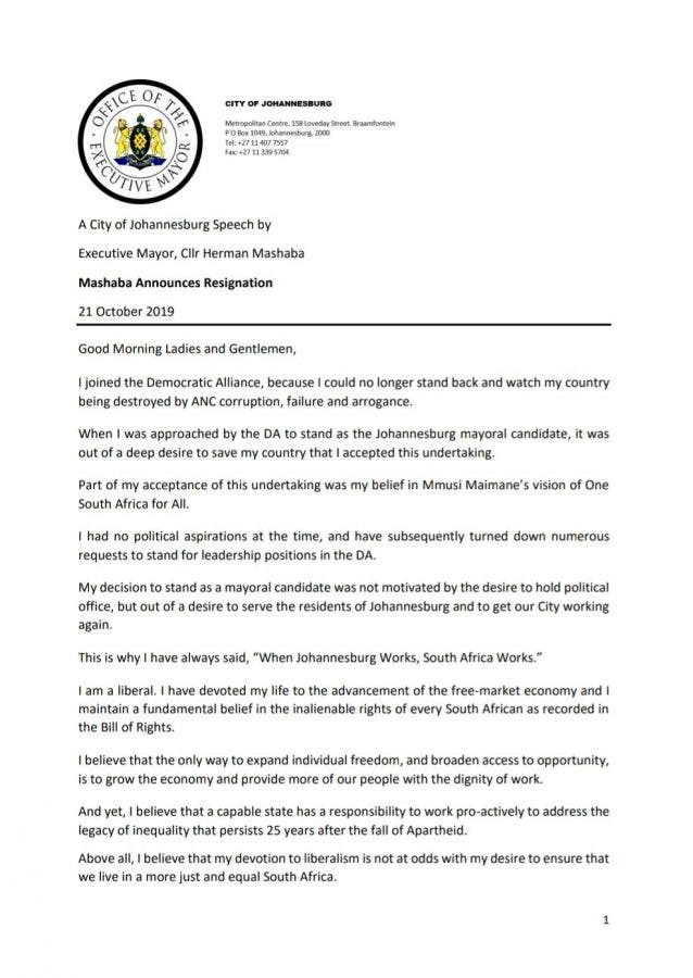 herman mashaba resigns joburg mayorb 1