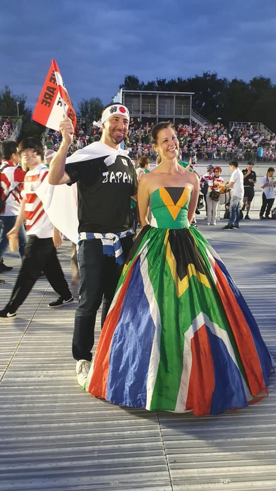 kirsten teasdale in japan in sa flag dress