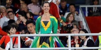 kirsten-teasdale-south-african-sa-flag-dress-springbok-fan at the rugby world cup