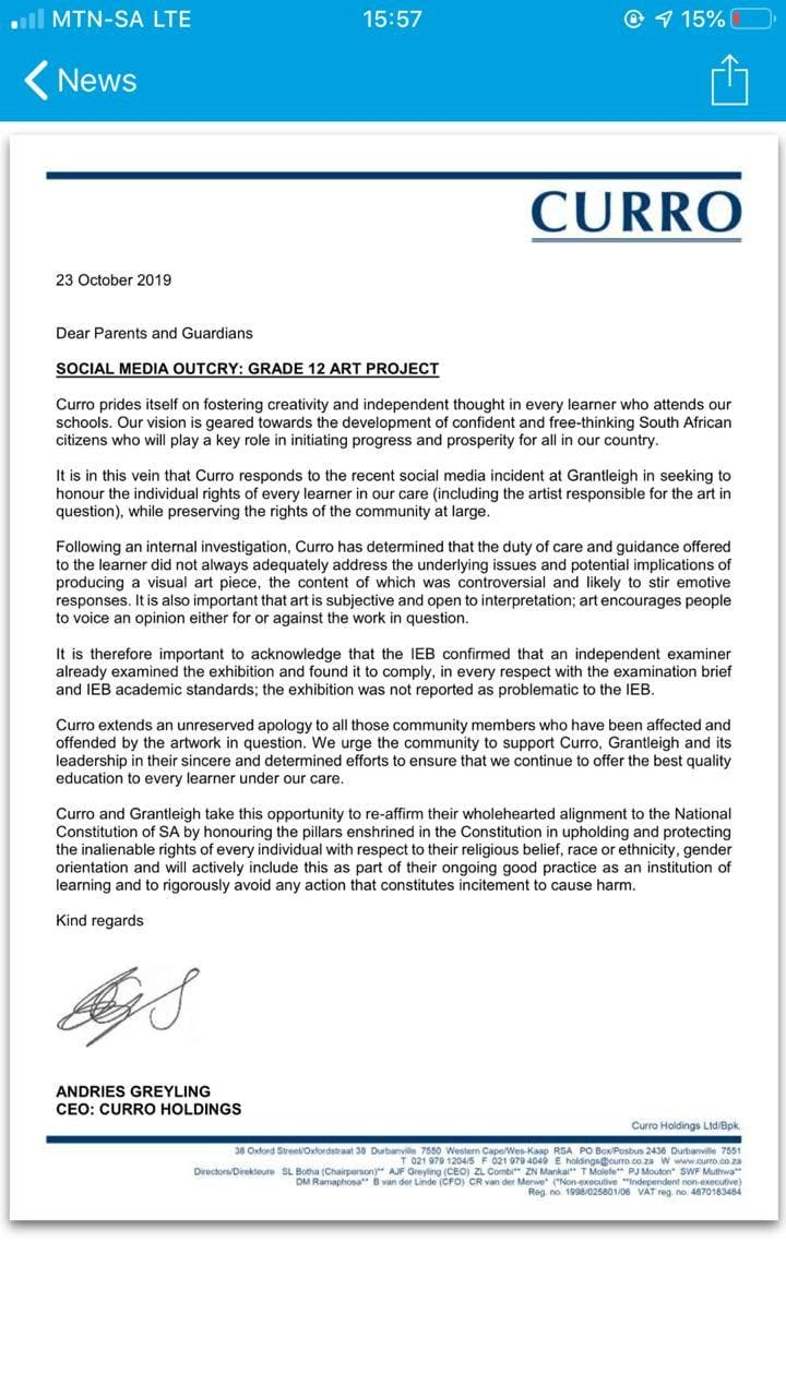 letter from curro over grantleigh matric art
