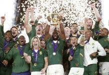 South Africa's Siya Kolisi celebrates with the Webb Ellis trophy after winning the World Cup Final.