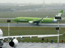 An aircraft from South African low cost airline Kulula takes off from Cape Town International airport