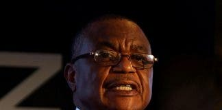 Zimbabwe's Vice-President Constantino Chiwenga speaks at a mining investment conference in Harar