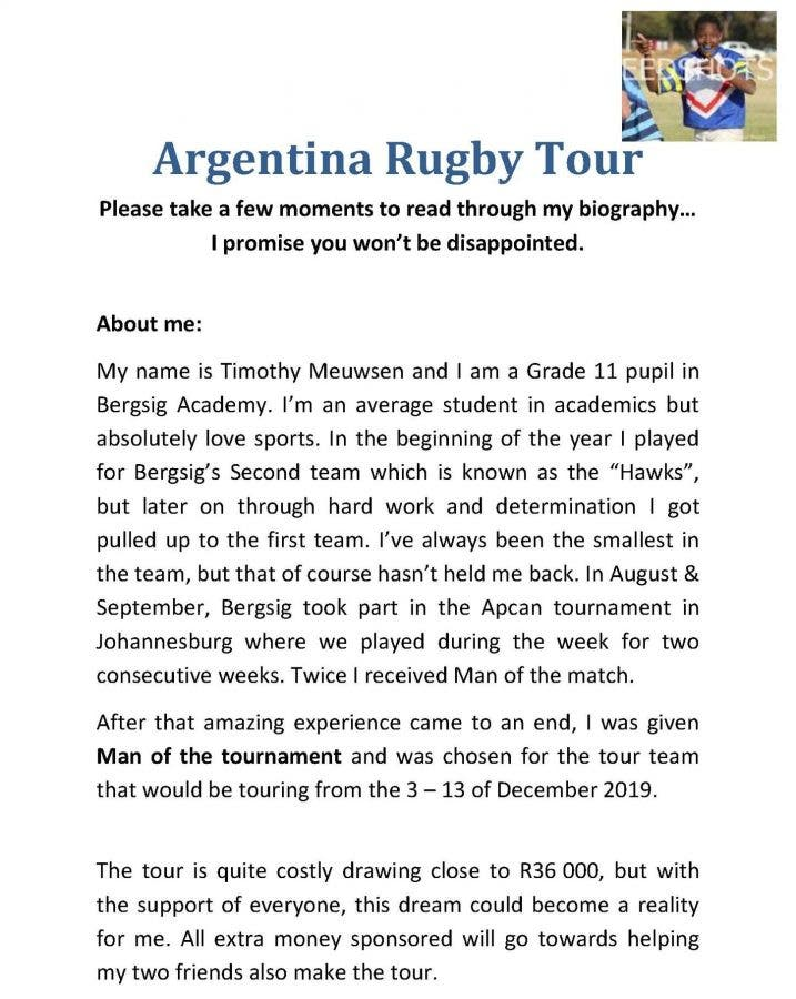 argentina rugby tour hopeful