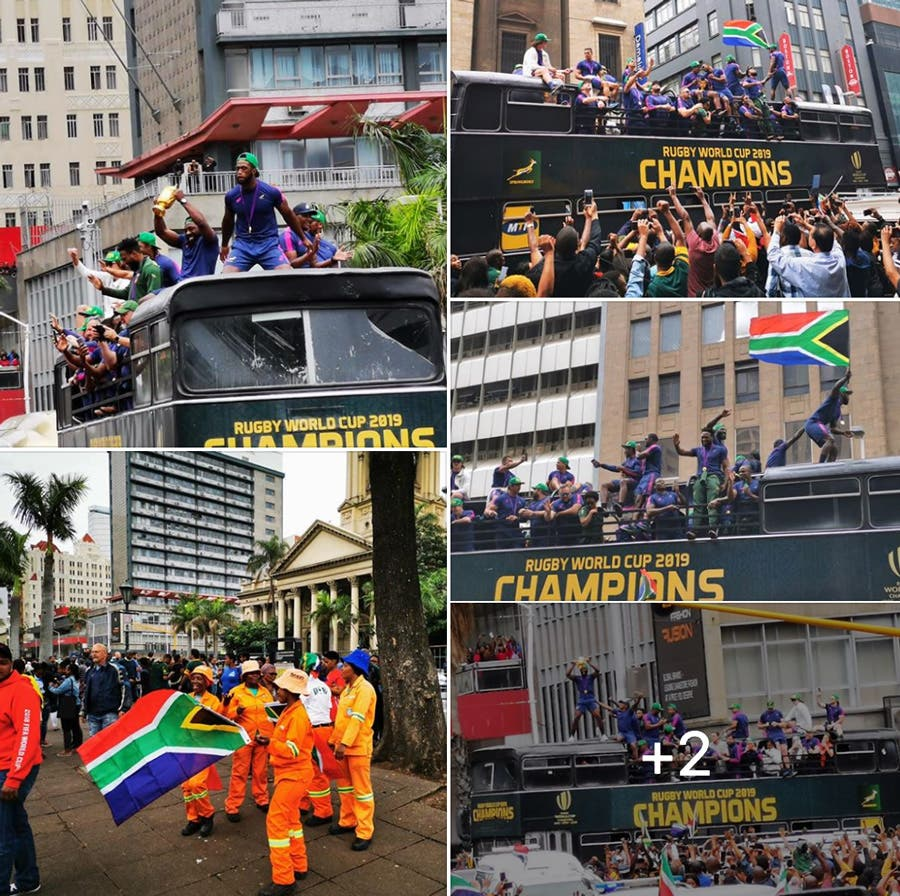 boks durban rugby world cup trophy tour parade