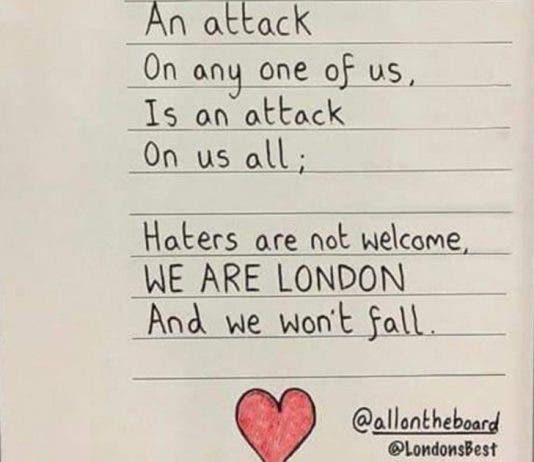 an attack on any one of us sign in london after stabbing attack