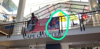 djokovic in federer and nadal banner by mistake in cape town