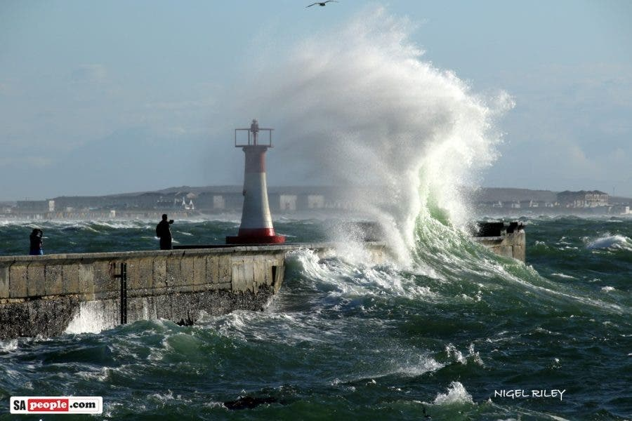 kalk bay harbour massive waves