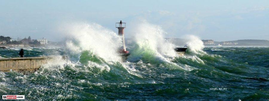 kalk bay harbour massive waves