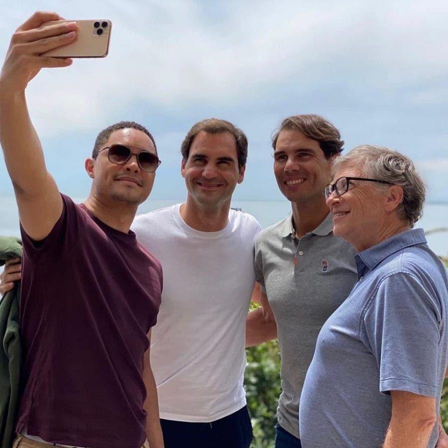 Trevor Noah, Roger Federer, Rafa Nadal and Bill Gates Match In Africa Tennis