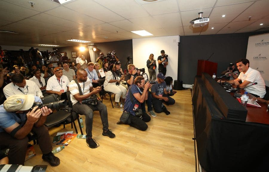 Roger Federer interacts with the press preceding the Match in Africa in Cape Town - Reg Caldecott - Match In Africa 2020