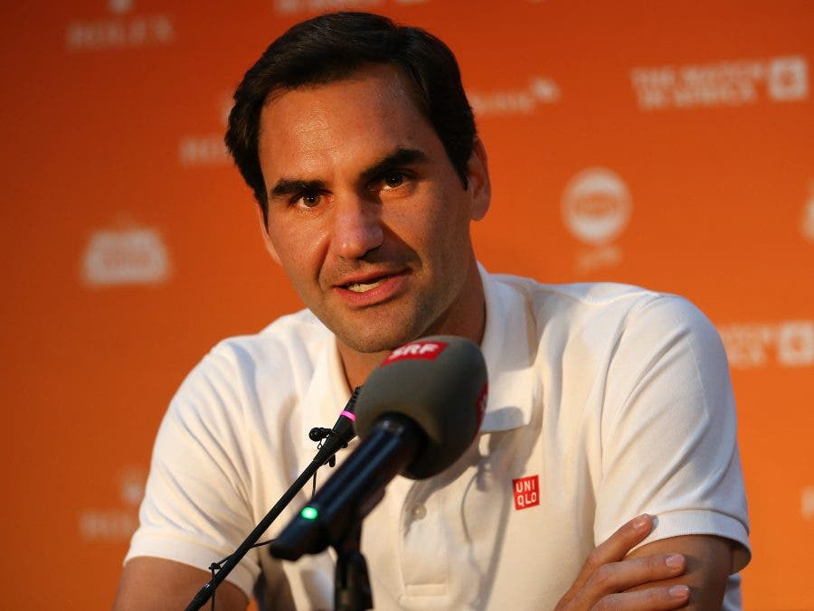 Roger Federer sharing some insight with the press preceding the Match in Africa in Cape Town - - Reg Caldecott - Match In Africa 2020