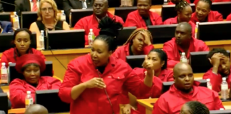 sona chaos in parliament south africa