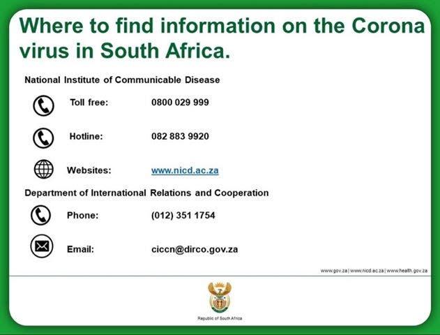 coronavirus info in south africa