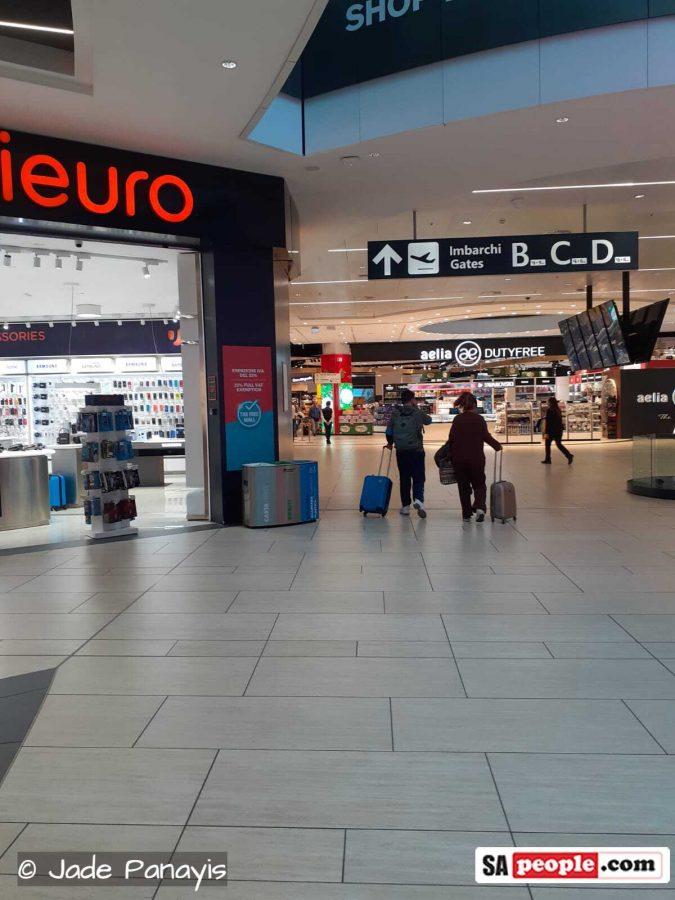 coronavirus rome italy airport 9 empty hall