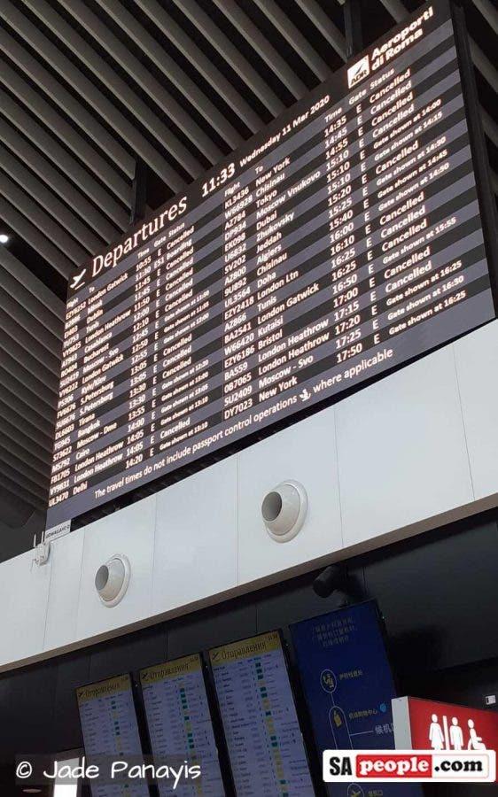 coronavirus rome italy airport cancelled flights