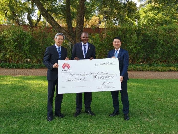 Huawei donated R1-million to help SA's fight against corona virus.