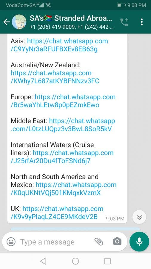 south africans stranded abroad whatsapp